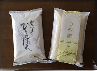 「ひとめぼれ」「つや姫」食べ比べセット 玄米の特産品画像