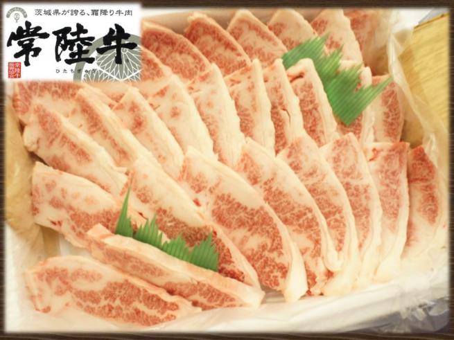 茨城県産黒毛和牛『常陸牛焼肉用霜降りカルビ肉(1kg)』の特産品画像