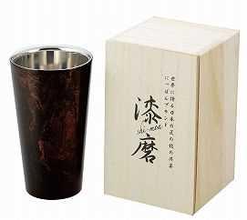【アサ】漆磨(シーマ)二重構造ストレートカップ(黒漆)の特産品画像