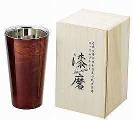 【アサ】漆磨(シーマ)二重構造ストレートカップ(赤漆)の特産品画像