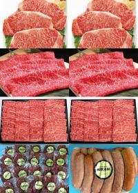 黒毛和牛 カルビ焼肉用&霜降りサーロインステーキ&赤身すき焼き用&和牛入りフランクフルト&和牛ビーフジャーキーの特産品画像